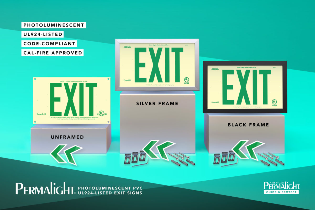 Cal Fire Approved PERMALIGHT® PVC Exit Signs