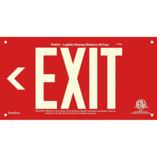 Red Aluminum EXIT Sign (Arrow left), unframed