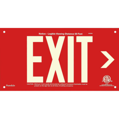 Red Aluminum EXIT Sign (Arrow right), unframed