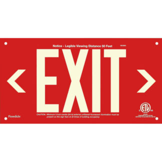 Red Aluminum EXIT Sign (left and right Arrows), unframed