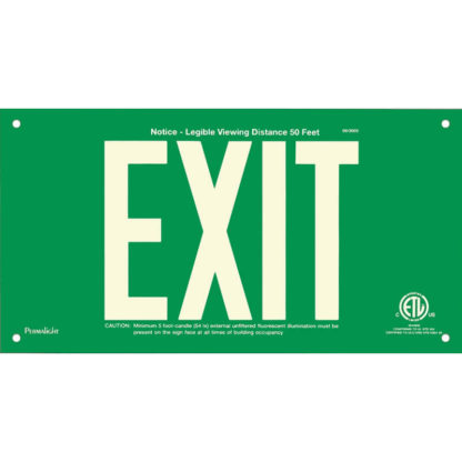 Green Aluminum EXIT Sign, unframed