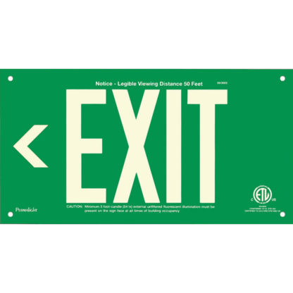 Green Aluminum EXIT Sign (Arrow left), unframed