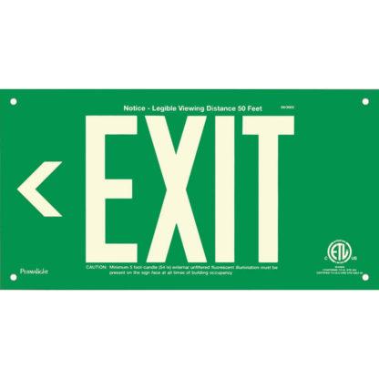 Green Aluminum EXIT Sign (Arrow left), unframed