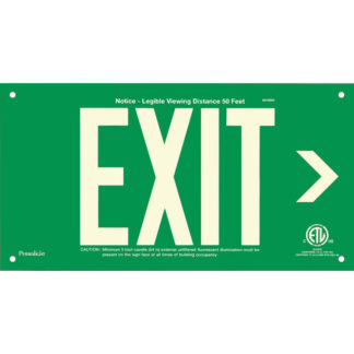 Green Aluminum EXIT Sign (Arrow right), unframed