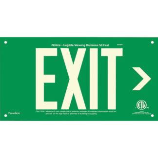 Green Aluminum EXIT Sign (Arrow right), unframed