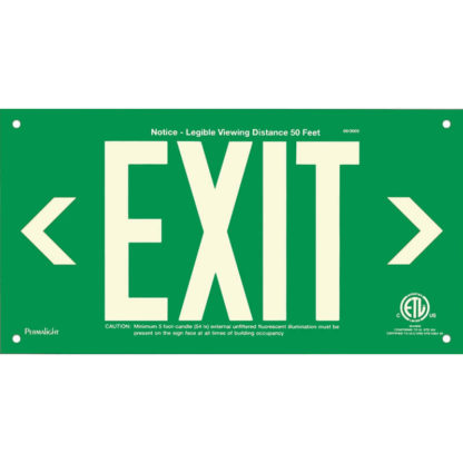 Green Aluminum EXIT Sign (left and right Arrows), unframed