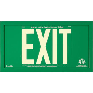 Green Aluminum EXIT Sign in green frame