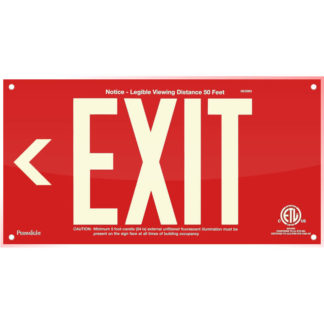 Red Acrylic EXIT Sign (Arrow left)
