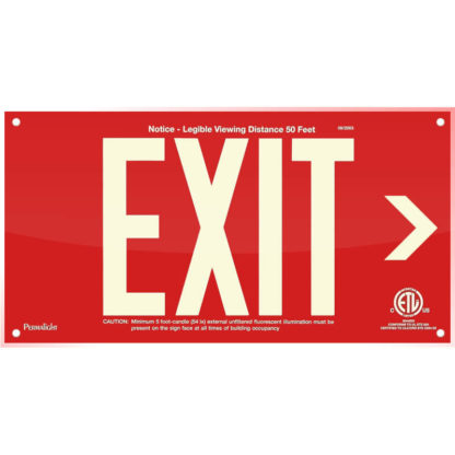 Red Acrylic EXIT Sign (Arrow right)