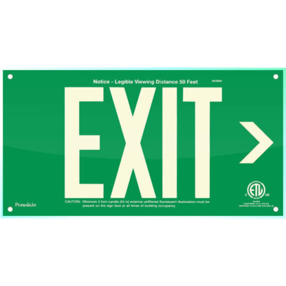 Green Acrylic EXIT Sign (Arrow right)