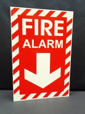 Fire Alarm Sign, red background