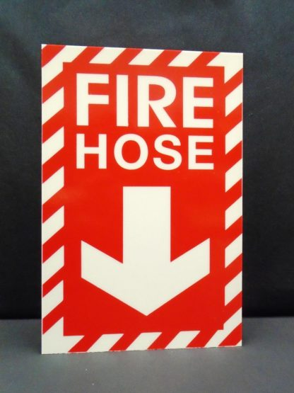 Fire Hose Sign, red background