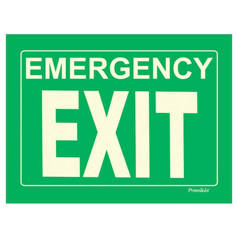 rigid emergency exit sign green background 14 in x 10 in