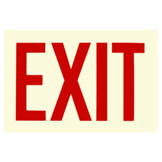 EXIT Sign, red letters, photoluminescent background