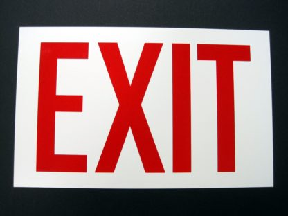 EXIT Sign, photoluminescent background, red letters