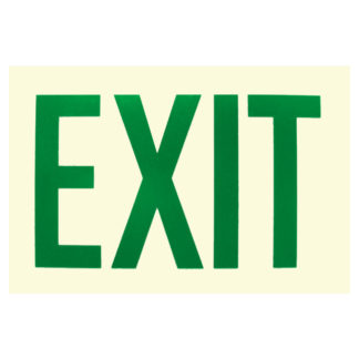 EXIT Sign, green letters, photoluminescent background