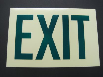 EXIT Sign, photoluminescent background, green letters