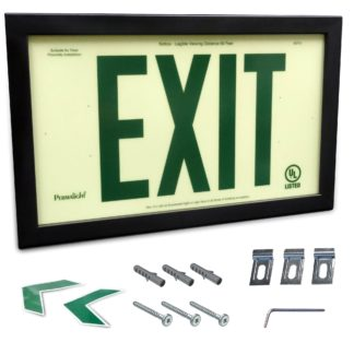 Rigid PVC Plastic EXIT Sign, black aluminum frame, green letters (6 in)