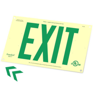 Rigid PVC Plastic EXIT Sign, unframed, green letters