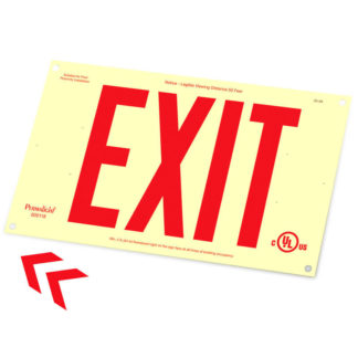Rigid PVC Plastic EXIT Sign, unframed, red letters