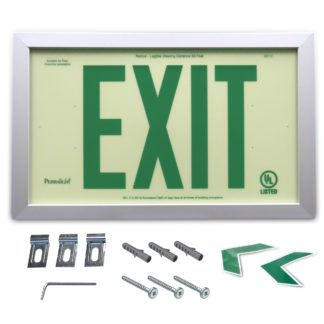 Rigid PVC Plastic EXIT Sign, silver aluminum frame, green letters (6 in)