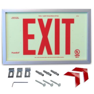 Rigid PVC Plastic EXIT Sign, silver aluminum frame, red letters (6 in)