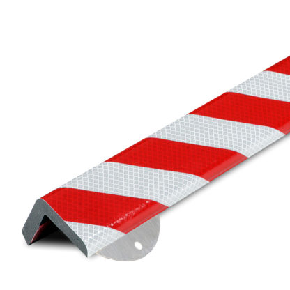 Corner Protection, Type H+, Reflective Silver / Red, with Steel Mounting Support