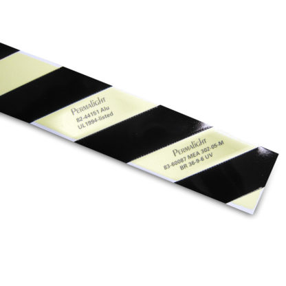 Photoluminescent / Contrast Black Aluminum marking strip with thin adhesive backing