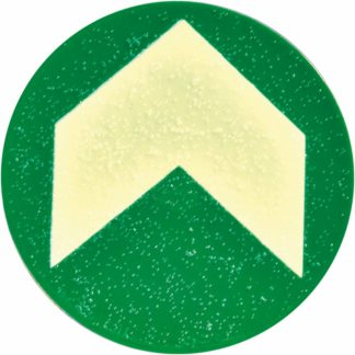 Anti-Skid Dots, Polycarbonate, 10 Dots, photoluminescent with chevron, 4 in diameter