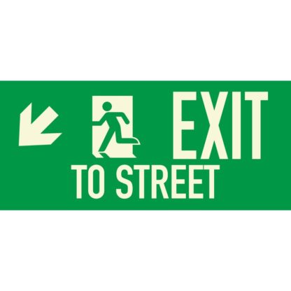 EXIT TO STREET + Arrow left downwards
