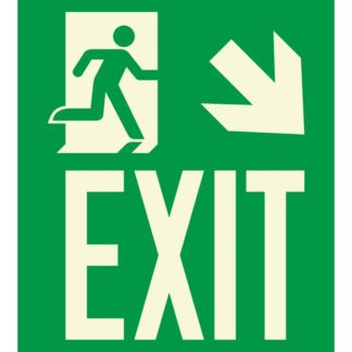 Man running + Arrow right down + EXIT