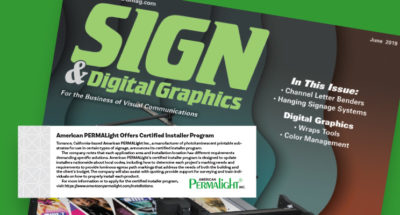 American PERMALIGHT® featured in the June 2019 iIssue of Sign and Digital Graphics Magazine
