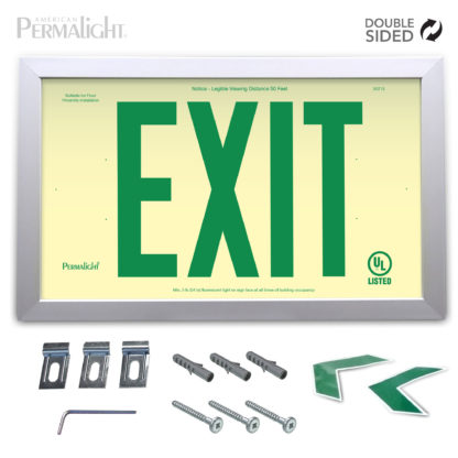 "PERMALIGHT® Rigid Photoluminescent PVC Plastic EXIT Sign | Aluminum Framed, Double-Sided, 6"" Green Lettering 