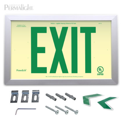 "PERMALIGHT® Rigid Photoluminescent PVC Plastic EXIT Sign | Aluminum Framed, Single-Sided, 6"" Green Lettering 