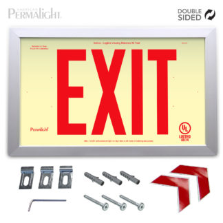 "PERMALIGHT® Rigid Photoluminescent PVC Plastic EXIT Sign | Aluminum Framed, Double-Sided, 6"" Red Lettering 