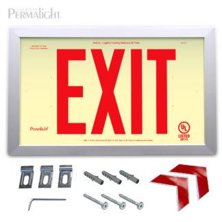 "PERMALIGHT® Rigid Photoluminescent PVC Plastic EXIT Sign | Aluminum Framed, Single-Sided, 6"" Red Lettering | SKU:600127"