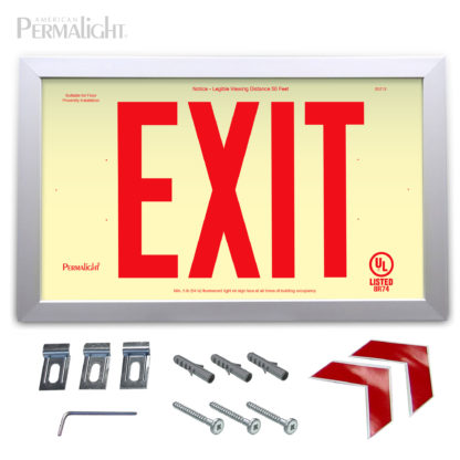 "PERMALIGHT® Rigid Photoluminescent PVC Plastic EXIT Sign | Aluminum Framed, Single-Sided, 6"" Red Lettering 