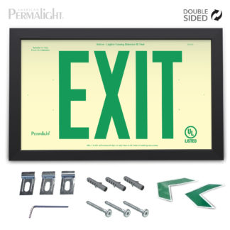"PERMALIGHT® Rigid Photoluminescent PVC Plastic EXIT Sign | Black Aluminum Framed, Double-Sided, 6"" Green Lettering 