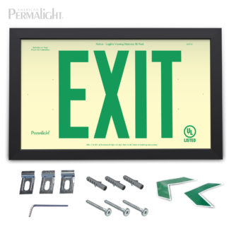 "PERMALIGHT® Rigid Photoluminescent PVC Plastic EXIT Sign | Black Aluminum Framed, Single-Sided, 6"" Green Lettering 