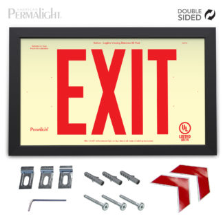 "PERMALIGHT® Rigid Photoluminescent PVC Plastic EXIT Sign | Black Aluminum Framed, Double-Sided, 6"" Red Lettering 