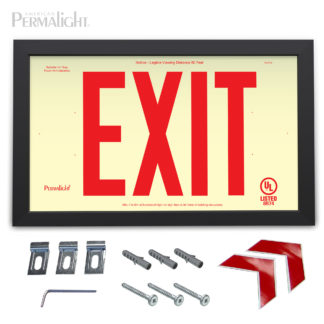"PERMALIGHT® Rigid Photoluminescent PVC Plastic EXIT Sign | Black Aluminum Framed, Single-Sided, 6"" Red Lettering 
