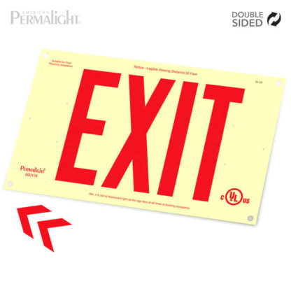 "PERMALIGHT® Photoluminescent Rigid PVC Plastic EXIT Sign | Unframed, Double-Sided, 6"" Red Lettering 
