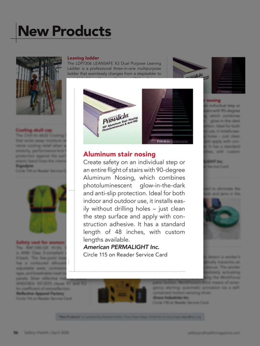 PERMALIGHT® Aluminum Photoluminescent Stair Nosing featured in National Safety Council Safety + Health magazine in April 2020