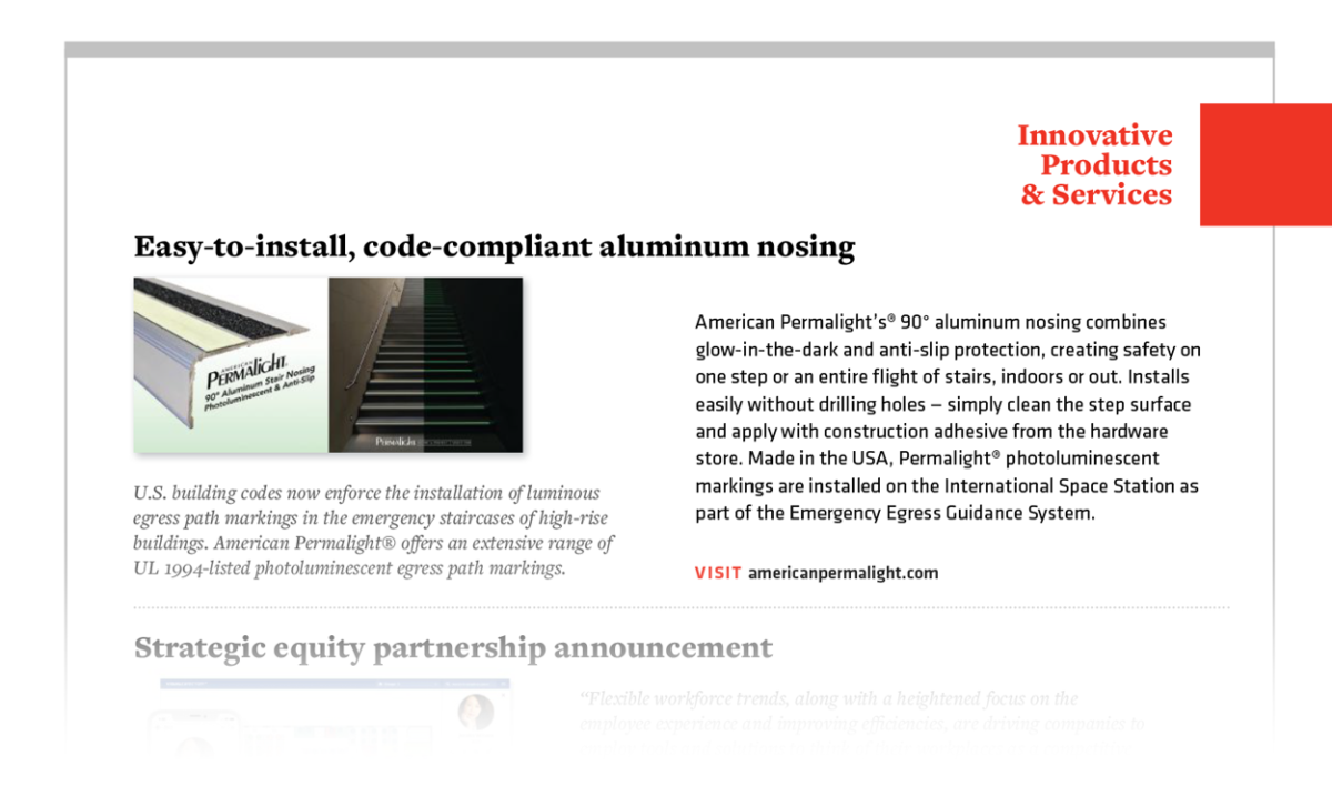 PERMALIGHT® Photoluminescent Aluminum Stair Nosing is an Innovative Product featured in FMJ magazine