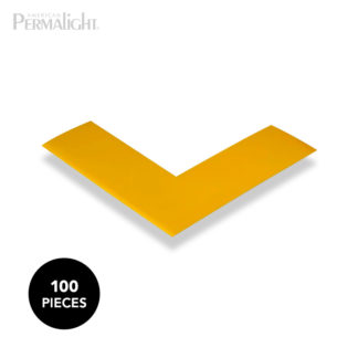 Mighty Line Yellow Solid Color Safety Floor Marking Corners, Self-Adhesive, 2 in x 6 in x 6 in (100 Pack)