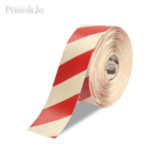 """Mighty Line Red/White Striped Floor Tape - 4"""" Width"""