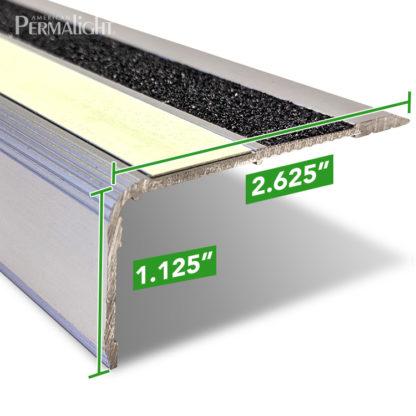 PERMALIGHT® Photoluminescent Anti-Slip Aluminum Stair Nosing - Profile Dimensions