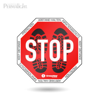 STOP and Keep Distnce, Social Distancing Floor Marker, Self-Adhesive