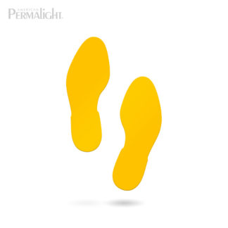 Yellow Social Distancing Shoe-Step Floor Marker, Self-Adhesive, 5 Pairs