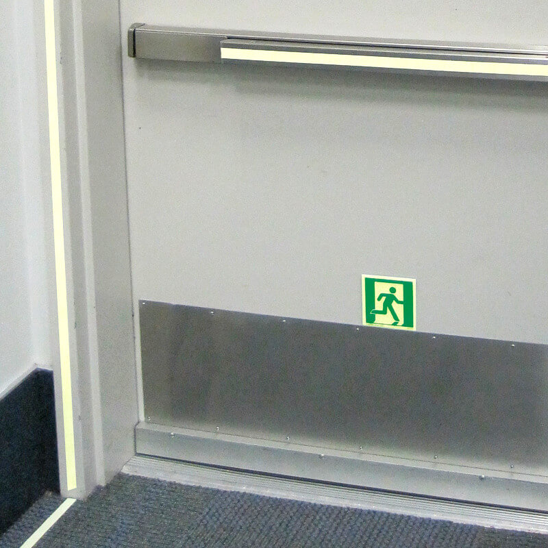Emergency Exit Marking on Door & Emergency Exit Symbol Running Man Right 7 7/8 in aluminum self ...